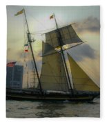 Tall Ship Chasing The Sun Fleece Blanket