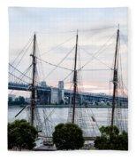 Tall Ship Gazela At Penns Landing Fleece Blanket