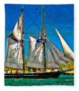 Tall Ship Paint  Fleece Blanket