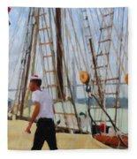 Tall Ship Sailor Duty Fleece Blanket