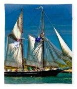 Tall Ship Vignette Fleece Blanket