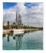 Tall Ships And Palm Trees - Impressions Of Barcelona Fleece Blanket