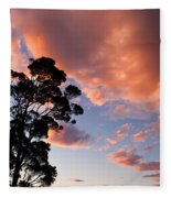 Tall Tree Against A Dramatic Sunset Clouds Sky Fleece Blanket