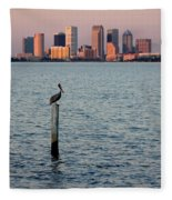 Tampa Skyline And Pelican Fleece Blanket