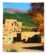 Taos Pueblo South In Autumn Fleece Blanket