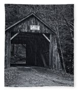 Tappan Covered Bridge Bw Fleece Blanket