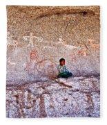 Tarahumara Boy In Painted Cave Near Chihuahua-mexico Fleece Blanket