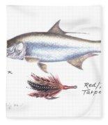 Tarpon And Red Black Tarpon Fly Fleece Blanket