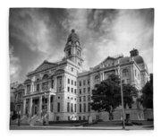 Tarrant County Courthouse Bw Fleece Blanket