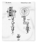 Tattooing Machine Patent Art  1891 Fleece Blanket