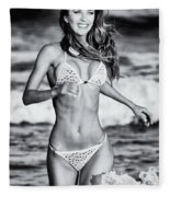 Ms Turkey Tatyana Running In The Ocean Waves - Glamor Girl Photo Art Fleece Blanket