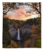 Taughannock Falls Autumn Sunset Fleece Blanket