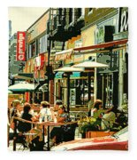 Tavern In The Village Urban Cafe Scene - A Cool Terrace Oasis On A Busy Hot Montreal City Street Fleece Blanket