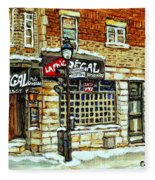 Taverne La Chic Regal Pointe St.charles Jazz Bar Montreal Paintings Winter Street Scene Original Art Fleece Blanket