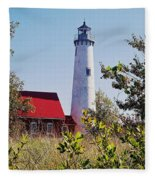Tawas Point Lighthouse...from Tawas Bay Side Fleece Blanket