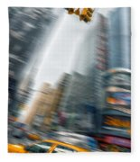 Taxi On Times Square Fleece Blanket