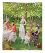 Tea In The Garden Fleece Blanket