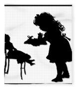 Tea Party Dolly Silhouette Fleece Blanket