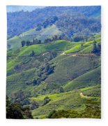 Tea Plantation In The Cameron Highlands Malaysia Fleece Blanket