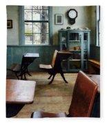 Teacher - One Room Schoolhouse With Clock Fleece Blanket