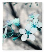 Teal Blossoms Fleece Blanket