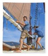 Teamwork On The Lake Fleece Blanket