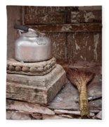 Teapot And Broom Fleece Blanket