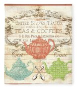 Teas And Coffees Sign Fleece Blanket