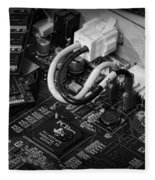Technology - Motherboard In Black And White Fleece Blanket