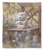 Teddy Bear And Texas Bluebonnets Fleece Blanket