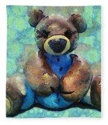 Teddy Bear In Blue Fleece Blanket