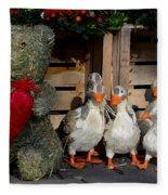 Teddy Bear With Flock Of Stuffed Ducks Fleece Blanket