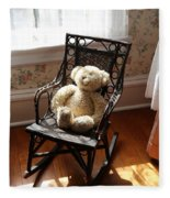 Teddy In Old Fashioned Rocker Fleece Blanket