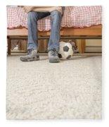 Teen Boy In Bedroom Fleece Blanket
