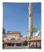 Tel Aviv Old Town Street Fleece Blanket