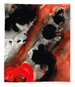Tempest - Red And Black Painting Fleece Blanket