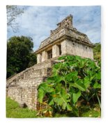 Temple And Foliage Fleece Blanket