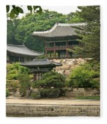 Temple By Lake And Forest Seoul South Korea Fleece Blanket