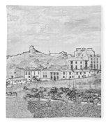Tenby Harbor Panorama Fleece Blanket