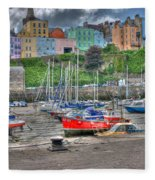 Tenby Harbour In Summer 4 Fleece Blanket