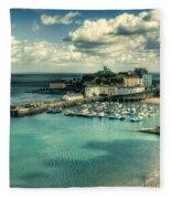 Tenby Harbour Pembrokeshire Fleece Blanket