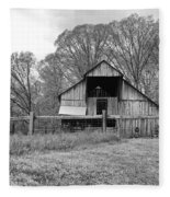 Tennessee Barn Bw Fleece Blanket