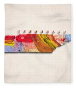 Tennessee Map Art - Painted Map Of Tennessee Fleece Blanket