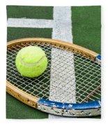 Tennis - Wooden Tennis Racquet Fleece Blanket