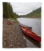 Tents And Canoes At Mcquesten River Yukon Canada Fleece Blanket