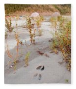 Tents At Yukon River In Remote Taiga Wilderness Fleece Blanket