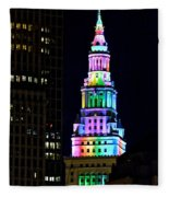 Terminal Tower Rainbow Fleece Blanket