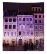 Terraced Historic Houses At Night In Warsaw Fleece Blanket