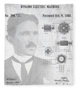 Tesla A / C Current Patent Art 1888 Fleece Blanket