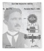 Tesla And The Electro Magnetic Motor Patent Fleece Blanket